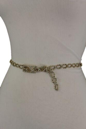 Fancy Women Hip High Waist Gold Metal Chain Narrow Belt Silver Rhinestones S M