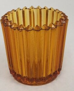 Vintage-Ribbed-Glass-Votive-Candle-Holder-Indiana-Set-of-2-Amber