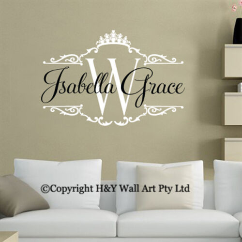 Custom Personalised Name Wall Sticker Kids Room Decal Art Mural Crown Removable