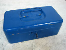 Ccc Top Products Vintage Blue Heavy Gauge Metal Tacklecash Box With Tray Amp Key