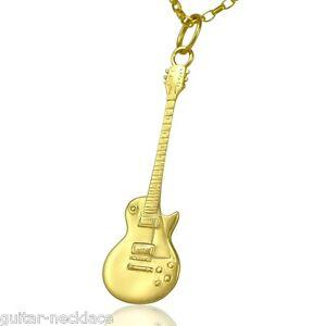 9ct-dore-Gibson-Les-Paul-miniature-guitare-electrique-Pendentif-Collier-chaine