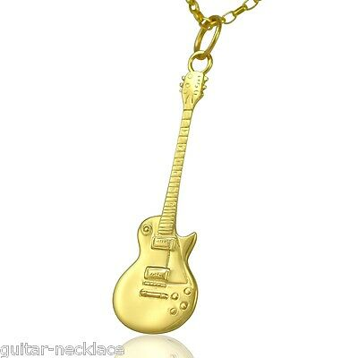 9ct Gold Gibson Les Paul Miniature Electric Guitar Pendant Charm Necklace Chain