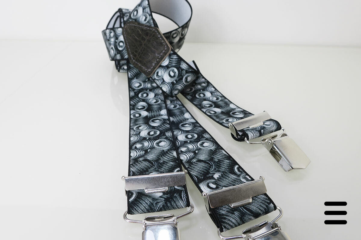 Hosenträger Y-Form Schrauben-Motiv, schwarz/silbergrau - 110 cm