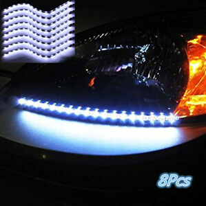 8xCar-White-Grill-Flexible-Waterproof-Light-Strip-Interior-Atmosphere-Lights-New