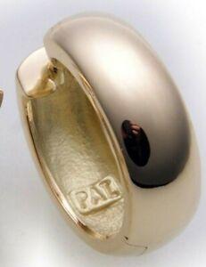 Herren Single Ohrring Klapp Creolen Gold 333 gewölbt 16 mm Gelbgold 8 karat Top