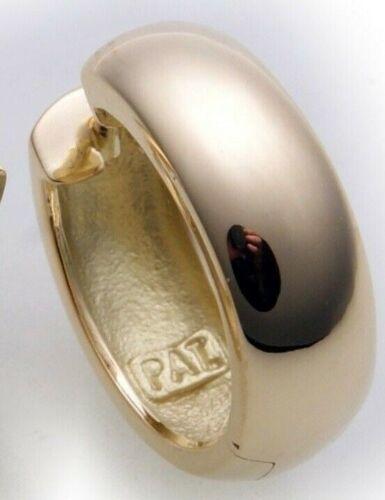 Señores single arete plegable creolen Gold 585 jadeará 16 mm dorado 14 quilates Top