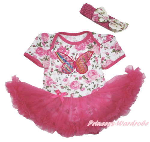 Rainbow Butterfly Rose Floral Girl Bodysuit Hot Pink Skirt Baby Dress NB-18Month