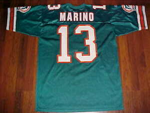 the best attitude b1a50 ffe2e Details about Russell Athletic NFL AFC Miami Dolphins Dan Marino 13 Aqua  Orange Jersey 48 New