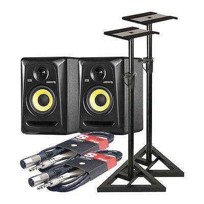 KRK ROKIT 4 G3 Monitoring Speakers (Pair) + 2x Adam Hall SKDB 039 Stands + 2x St