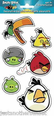 Angry Birds Decoration Decal Stickers Removeable Reusable 2 Sheets Party Favor