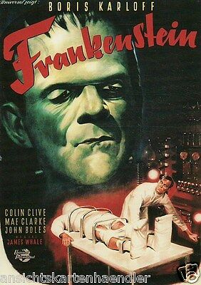 "Postkarte, Colin Clive, Mae Clarke, John Boles ""Frankenstein"""