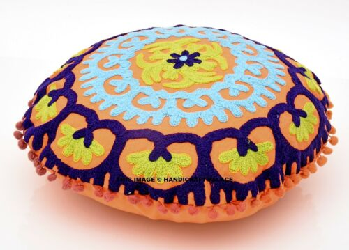 Suzani Embroidered Cushion Round Pillow Covers mandala rounded cushion cover