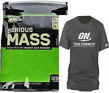 ON  Optimum Nutrition Serious Mass,12 Lbs-Chocolate WITH FREE ON  T-SHIRT