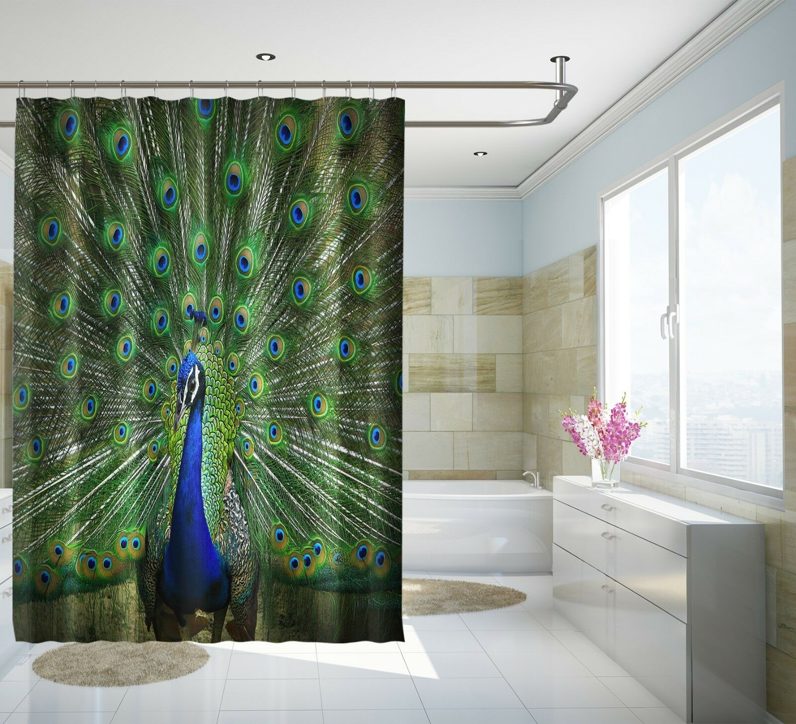 3D Blauer Pfau 13 Duschvorhang Wasserdicht Faser Bad Daheim Windows Toilette DE