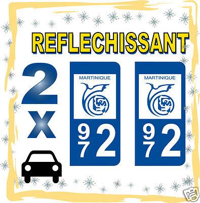 2 Stickers Reflechissant Département 972 Rétroréfléchissant Immatriculation Auto Gebruiksgoederen