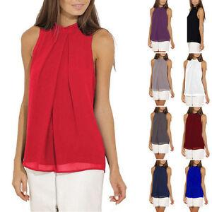 Mujer-Blusa-Informal-De-Chifon-Sin-mangas-Camisa-Camiseta-Verano-Sueter
