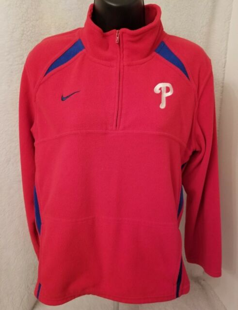 bc06666b7564 Nike Boys Girls Philadelphia Phillies 1 4 Zip Fleece Sweatshirt Top Size M  12 14