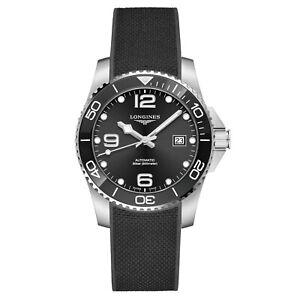 Longines-Hydroconquest-Ceramic-Bezel-41mm-Black-Steel-Rubber-Watch-L37814569-New