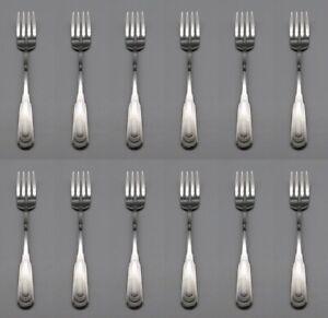 SET-OF-TWELVE-Oneida-Stainless-Flatware-CITYSCAPE-Fish-Dessert-Forks-USA