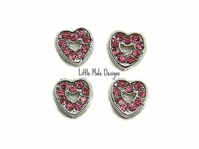 Pink Crystal Heart Floating Charm for Living Memory Locket Necklace Pendant