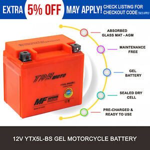 Ytx5l-bs Motorcycle GEL Battery 12v for GILERA R 600 600cc All Fuels 1991 1992