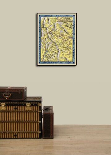 """1940s """"A Hysterical Map of Rocky Mountains"""" Vintage Style Funny Map 24x32"""