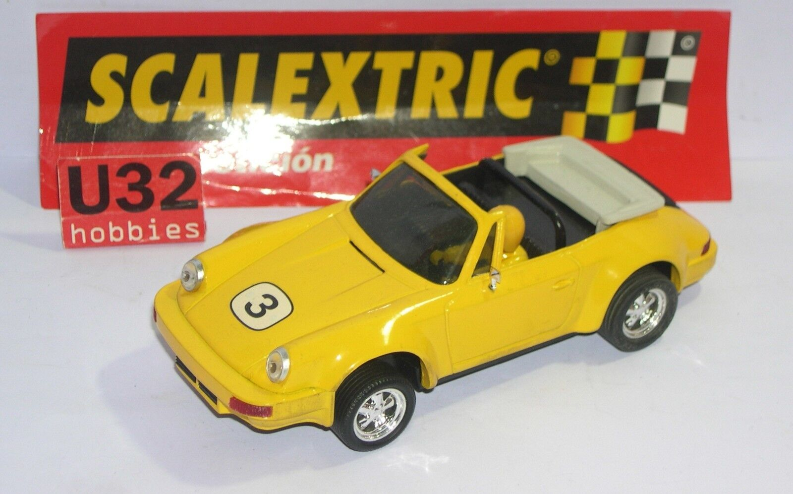SCALEXTRIC EXIN PORSCHE 911 CABRIOLET YELLOW CRAFT MINT