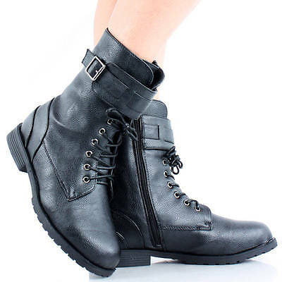 Womens Work Boots Hiking Shoes Flat Heels Combat Ankle Motorcycle Lace Up Biker