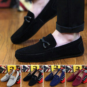 Men-039-s-Soft-Driving-Loafers-Suede-Leather-Moccasins-Slip-On-Penny-Shoes-Fahsion