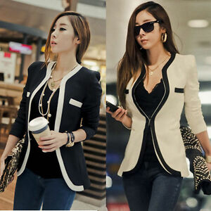 Fashion-Womens-White-Black-Colors-Suit-Blazer-Coat-Slim-Jacket-Outerwear-New