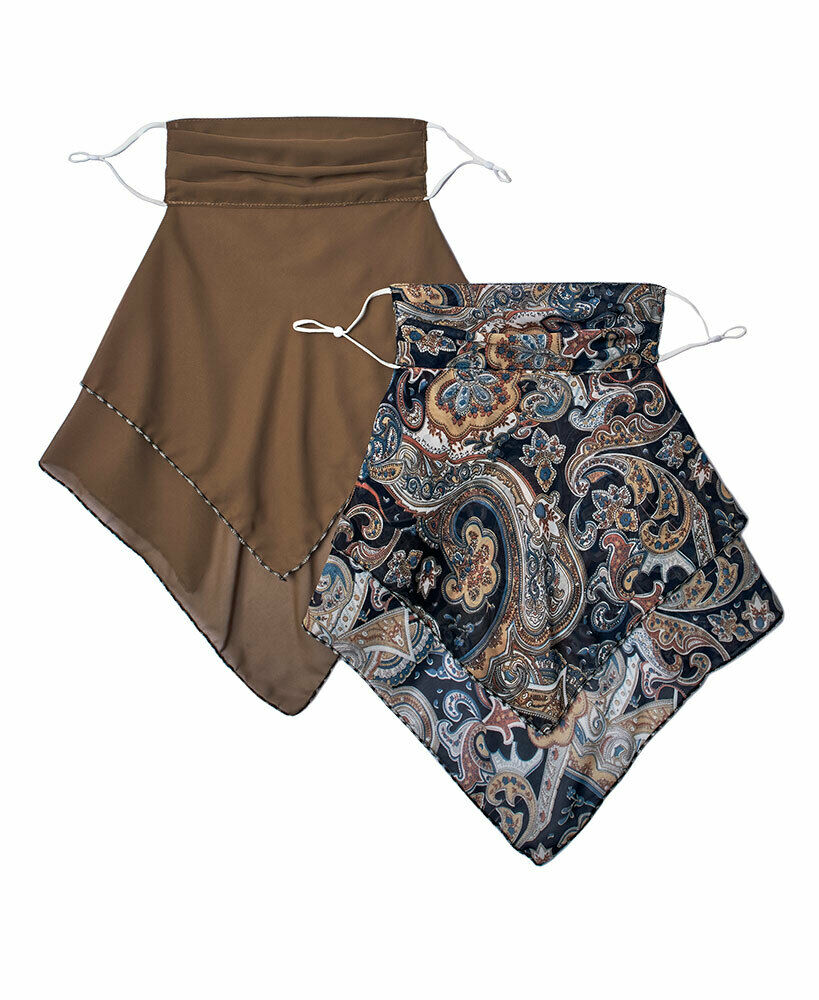 Women's Set of 2 Convertible Scarves with Face Mask Covering - Paisley & Brown