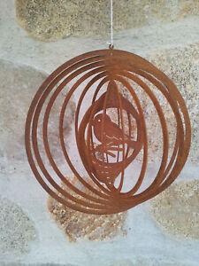 Warnen Edelrost Windspiel Vogel 3d Dekoration Aufhänger Garten Terrasse Fensterdeko PüNktliches Timing Gartenfiguren & -skulpturen Dekoration