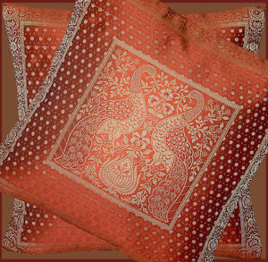 PAIR-TWO-OF-SILK-BROCADE-PILLOW-CUSHION-COVER-FROM-INDIA