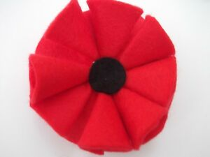 Handmade Red felt Remembrance Poppy brooch