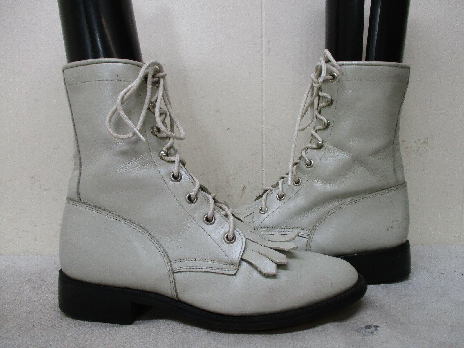 TONY LAMA Cream Leather Lace Kiltie Cowboy Boots Womens Size 6 B