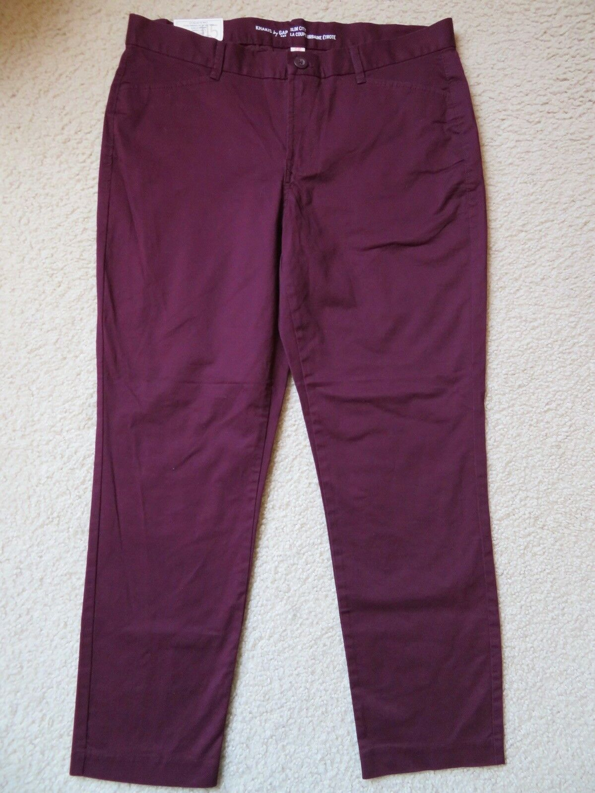 "New Women's Khakis by Gap ""Slim City"" Pants Slim Leg Cropped Maroon Red Size 10"
