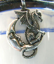 Celestial MIDNIGHT DRAGON & MOON ~ Pewter TALISMAN PENDANT & black necklace cord