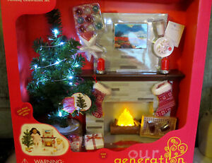 Our-Generation-Holiday-Celebration-Set-Christmas-Tree-Fireplace-18-034-Girl-Doll-AG