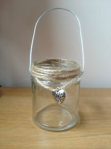 Twine-heart-Glass-jar-lanterns-tealight-holder-candle-wedding-hanging-Table