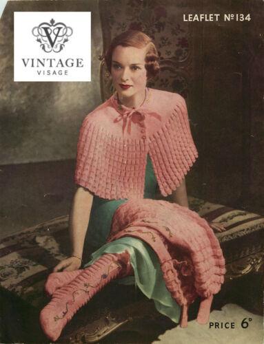 Chaussettes HAUSSER VINTAGE KNITTING PATTERN-Comment faire un 1930 S Era élégante Cape