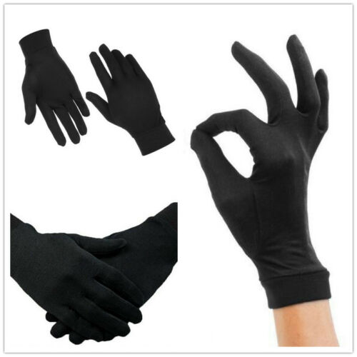 Thin Pure Silk Liner Inner Gloves Thermals Ski BikeMotorcycle Black Soft Sport