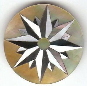 """CH9# Chip Art Inlay in White, Gold & Black Mother of Pearl 1.2"""" diameter"""