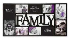 Home-Collection-Family-Multi-Aperture-Photo-Picture-Frame-Holds-10-Photos-Black