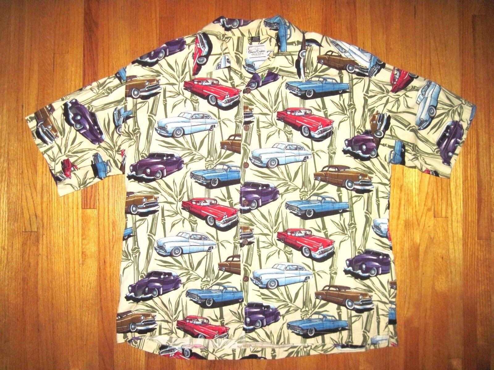 David Carey American Vintage Cars Hawaiian Button Front Casual Shirt 2XL UEC