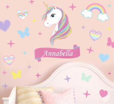Personalised Colourful Unicorn Stars & Hearts Wall Art Stickers Murals Decals