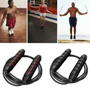 3m-10ft-Adjustable-Boxing-Skipping-Rope-Gym-Weighted-Jump-Adult-Speed-Ropes-O5J4
