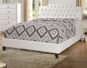 Details about Modern Bed Est King Size White Color Upholstered Faux Leather  Bedroom Furniture