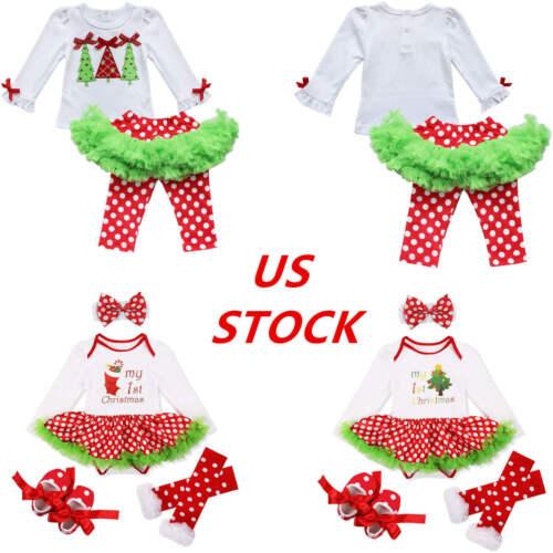 US Baby Girls Christmas Outfit Tops Polka Dot Tutu Leggings Skirt Party Costume