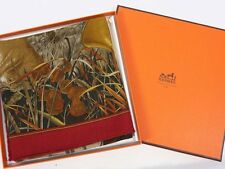 """Mint Authentic HERMES Chasse au Bois Cashmere Silk in Box Scarf Shawl 90 cm 35"""""""