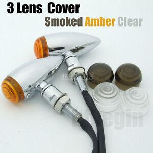 2x-universel-chrome-moto-clignotants-LED-Indicateur-Bobber-Chopper-3-lentilles